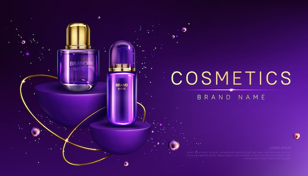 Bottiglie di cosmetici sul banner pubblicitario sul podio