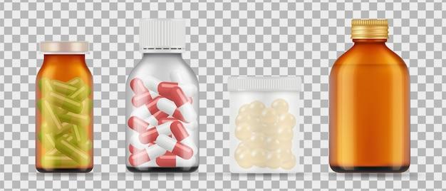 Bottiglie di pillole realistiche. farmaci, raccolta di farmaci su sfondo trasparente