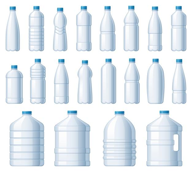 Bottiglie di plastica. bottiglia del dispositivo di raffreddamento dell'acqua, pacchetto in pet per liquidi e set di illustrazioni vettoriali per bevande gassate