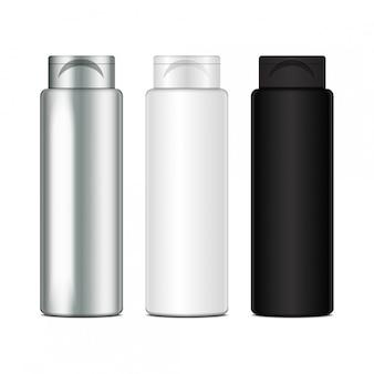 Bottiglie di plastica di vettore per shampoo, lozione, gel doccia, latte per il corpo, schiuma da bagno.