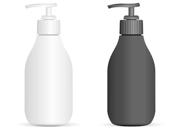 Bottiglie di plastica in bianco e nero della pompa messe isolate