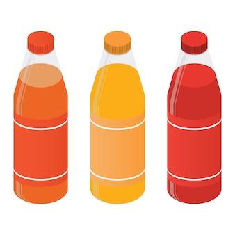 Bottiglie di plastica isometriche con succo o soda.