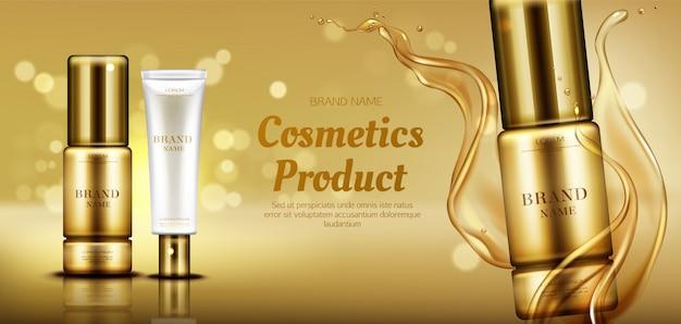Bottiglie di prodotti di bellezza cosmetici con spruzzi di olio