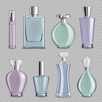 Bottiglie di profumo in vetro incastonate su trasparente