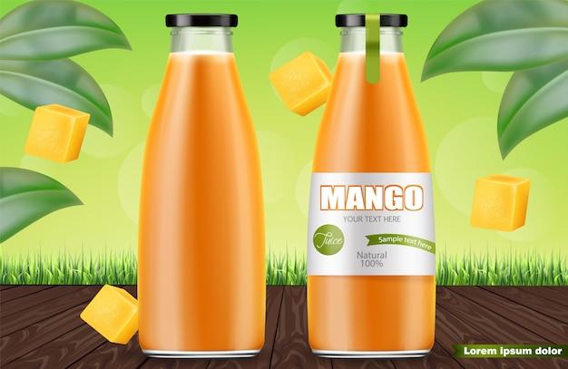 Bottiglie di succo di mango