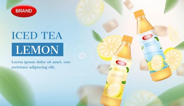 Bottiglie di tè ghiacciate con limone e ghiaccio. annuncio di tè freddo vettoriale