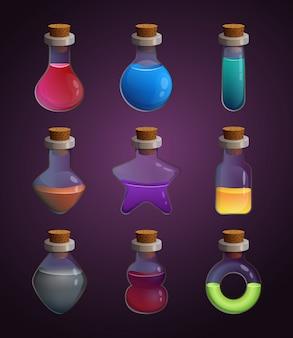 Bottiglie di vetro a forme diverse con vari veleni liquidi
