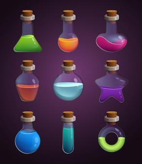 Bottiglie di vetro con vari liquidi. immagini in stile cartone animato