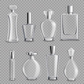 Bottiglie di vetro di profumo realistiche trasparenti