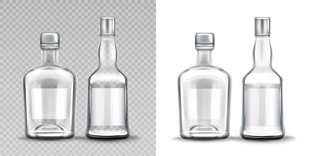 Bottiglie di vetro di varie forme. vodka, rum, whisky