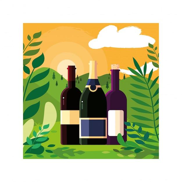 Bottiglie di vino con paesaggio di sfondo
