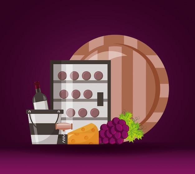 Bottiglie di vino frigorifero secchio a botte formaggio uva