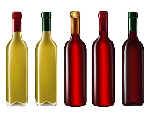 Bottiglie di vino isolate su bianco