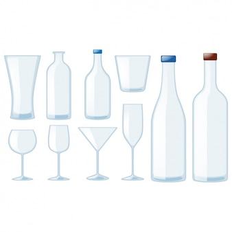 Bottiglie e bicchieri di raccolta