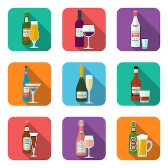 Bottiglie e vetri dell'alcool di progettazione piana con le icone dell'ombra messe