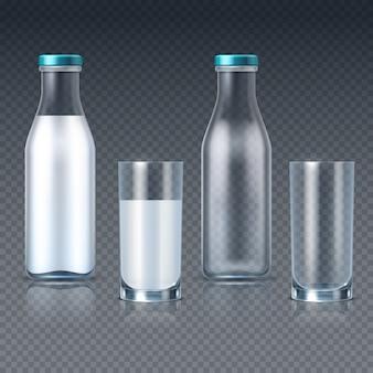 Bottiglie e vetri di vetro realistici con i modelli del latte isolati. bere il contenitore del latte, bevande fresche e latticini per la colazione