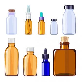 Bottiglie mediche di vetro. contenitori e bottiglie di vetro isolati per le pillole mediche e le droghe liquide