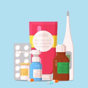 Bottiglie mediche, pillole, droghe, sciroppo, gel e termometro medico