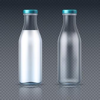 Bottiglie per bevande in vetro vuote e con latte. imballaggio del prodotto lattiero-caseario isolato. illustrazione della bevanda del latte della bottiglia, latteria della bevanda sana in vetro