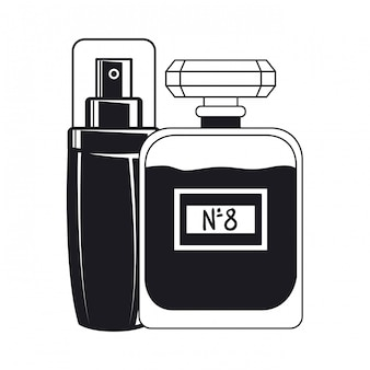 Bottiglie splash e fragance compongono icona