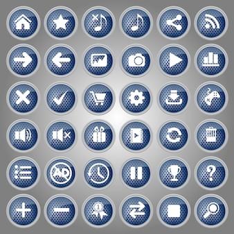 Bottoni blu icon set design stile metallo per web e gioco