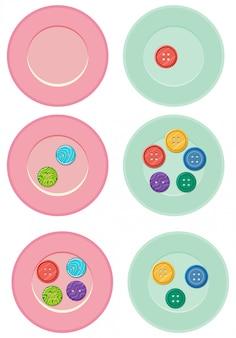 Bottoni colorati sui piatti
