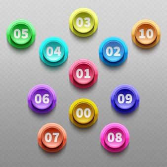 Bottoni di numero, insieme di vettore isolato pallottole indicanti 3d. tasto del punto 3d con l'illustrazione di numero