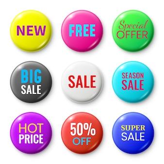 Bottoni distintivi di vendita, pulsante del negozio di offerta speciale, nuovo distintivo rosso e insieme isolato cerchio dell'autoadesivo di vendita di stagione