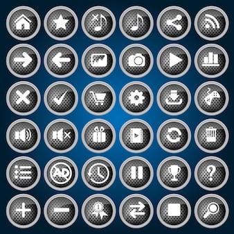 Bottoni neri icon set design stile metallo per web e gioco.