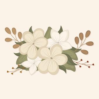 Bouquet di design vintage con fiori bianchi