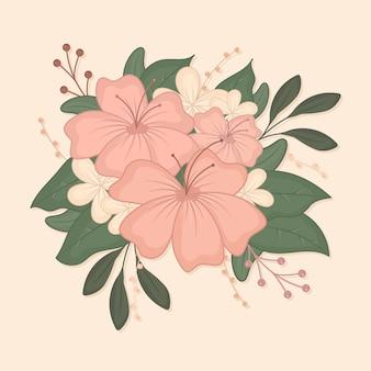 Bouquet di design vintage con fiori rosa