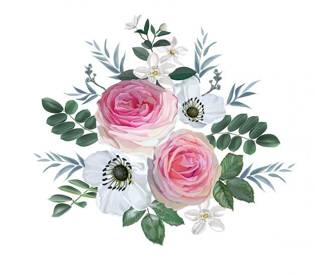 Bouquet di fiori con rose rosa e fiori bianchi con foglie