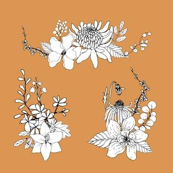 Bouquet di fiori linea arte tropicale. piante fiorite decorative.