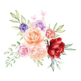 Bouquet di rose acquerellate backfround
