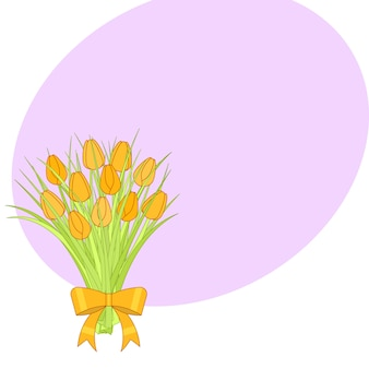 Bouquet di tulipani gialli con fiocco.