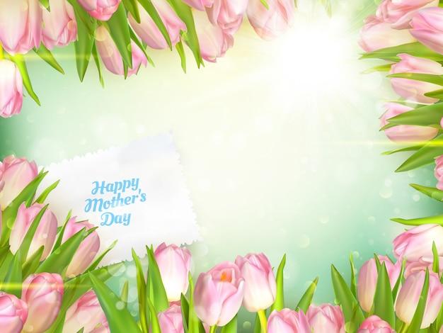 Bouquet di tulipani per la festa della mamma, cornice