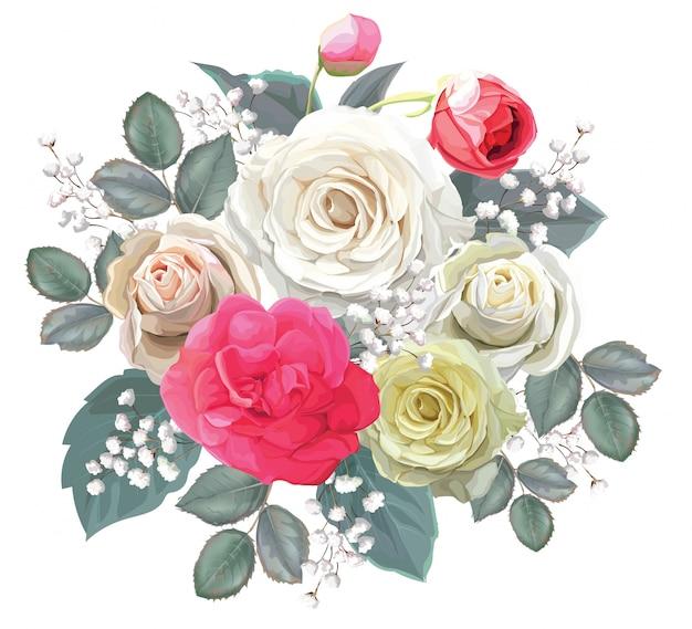 Bouquet floreale con illustrator rosa vettoriale