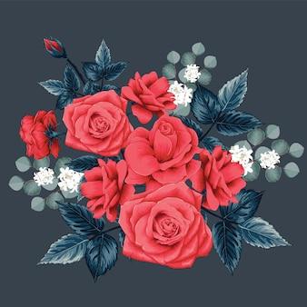 Bouquet floreale con rosa rossa e fiori selvatici bianchi.