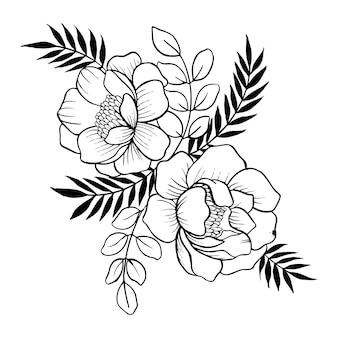 Bouquet floreale disegnato a mano di san valentino