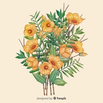 Bouquet floreale realistico disegnato a mano