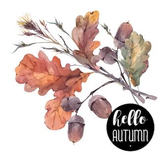 Bouquet vintage di ramoscelli, foglie di quercia gialla e ghiande