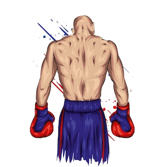 Boxer in pantaloncini e guanti. atleta maschio.
