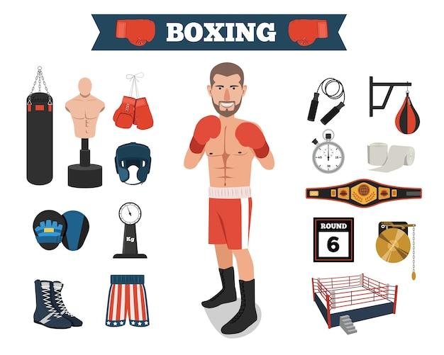 Boxer maschio con strumenti di attrezzatura boxe