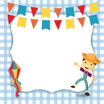 Boy festa junina invitation