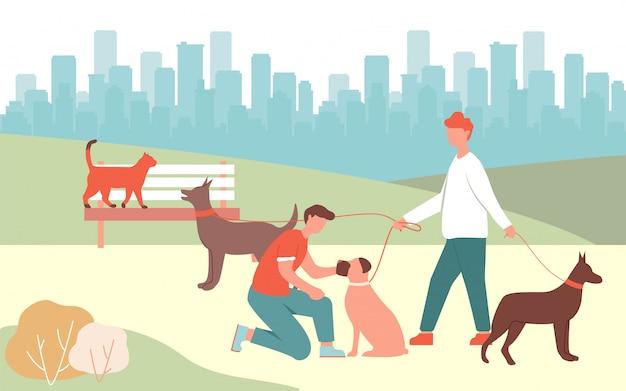 Boy pet boxer man walk dogs in park doberman bark