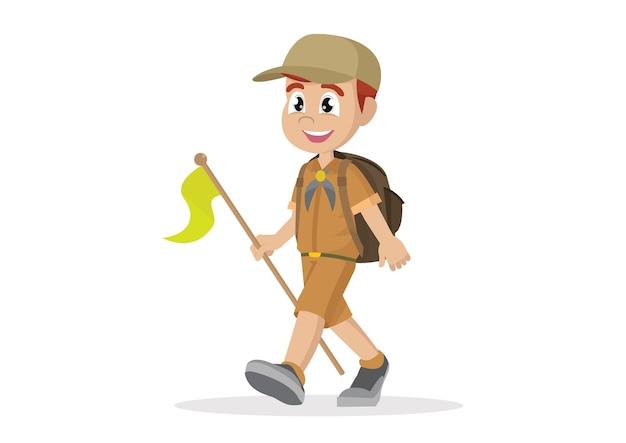 Boy scout walking.