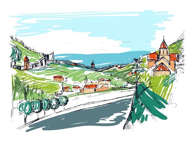 Bozza approssimativa di piccola strada cittadina georgiana, edifici e alberi contro le montagne sullo sfondo. paesaggio con insediamento situato vicino a colline disegnate a mano. illustrazione schizzo colorato.