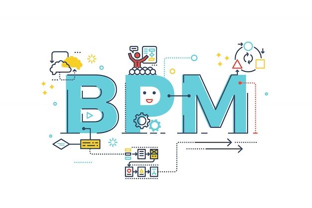 Bpm: illustrazione di progettazione di tipografia dell'iscrizione di parola di processo di gestione aziendale