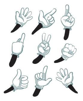 Braccia di cartone animato, mani inguantate. parti del corpo