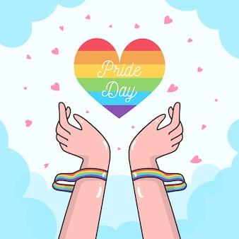 Bracciale e cuore arcobaleno